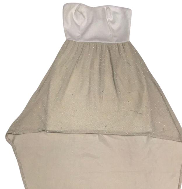Item - Cream & Silver *** Mid-length Short Casual Dress Size 4 (S)