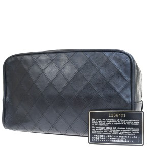 Chanel Authentic CHANEL CC Quilted Cosmetic Pouch Bag Leather Black Vintage