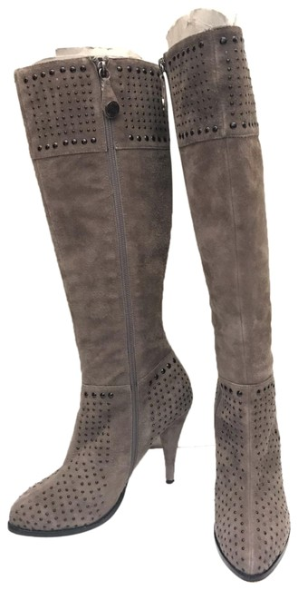 Item - Grey Km Suede Studded Knee High Boots/Booties Size US 7 Regular (M, B)