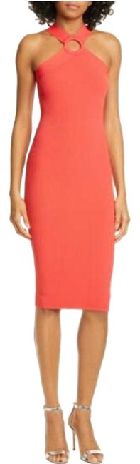 Item - Bright Coral Sionna Mid-length Cocktail Dress Size 14 (L)
