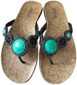 Kenneth Cole Reaction Brown Turquoise Sandals