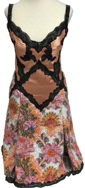 Item - Peach Silk Black Lace and Floral Tweed Short Cocktail Dress Size 4 (S)