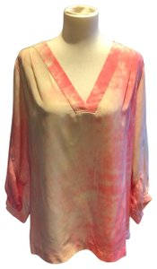Diane von Furstenberg Top orange and cream