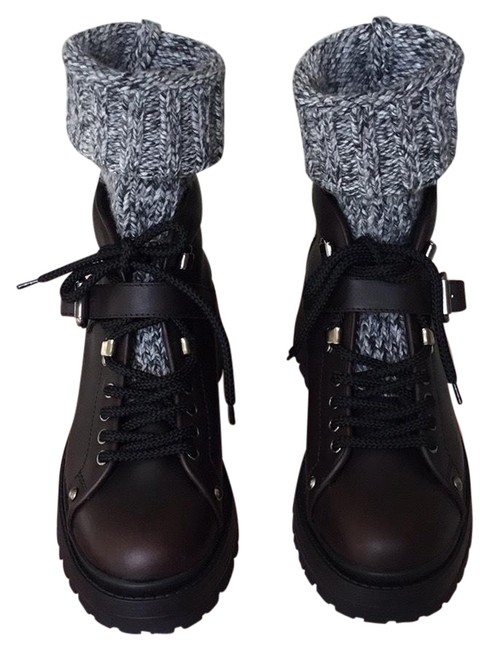 Item - Dark Brown Knit- Trimmed Sock Inset Leather Ankle Boots/Booties Size EU 41 (Approx. US 11) Regular (M, B)