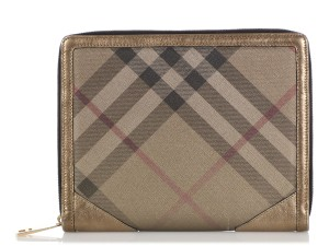 Burberry GOLD CHECK CANVAS & LEATHER ICONIC TABLET CASE