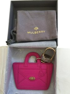 Mulberry MULBERRY LEATHER WILLOW BAG CHARM KEY RING FUCHSIA PINK Gift Box