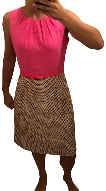 Item - Pink White Black Tailored Mid-length Work/Office Dress Size 12 (L)