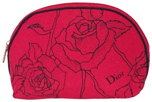 Dior Dior red floral zip around cosmetic case