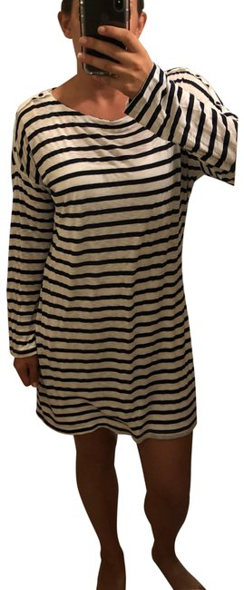 Item - Navy Blue White Striped Mid-length Short Casual Dress Size 12 (L)