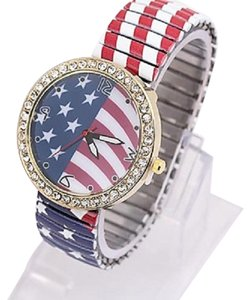 American Flag Print Stars And Stripes Bejeweled Crystal Accent Spring Band Watch