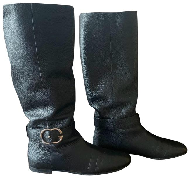 Item - Black Leather Interlocking G Sachalin Riding Boots/Booties Size US 7.5 Regular (M, B)