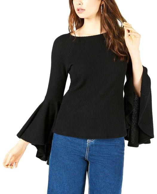 Item - L Ribbed Knit Bell Sleeve Black Sweater