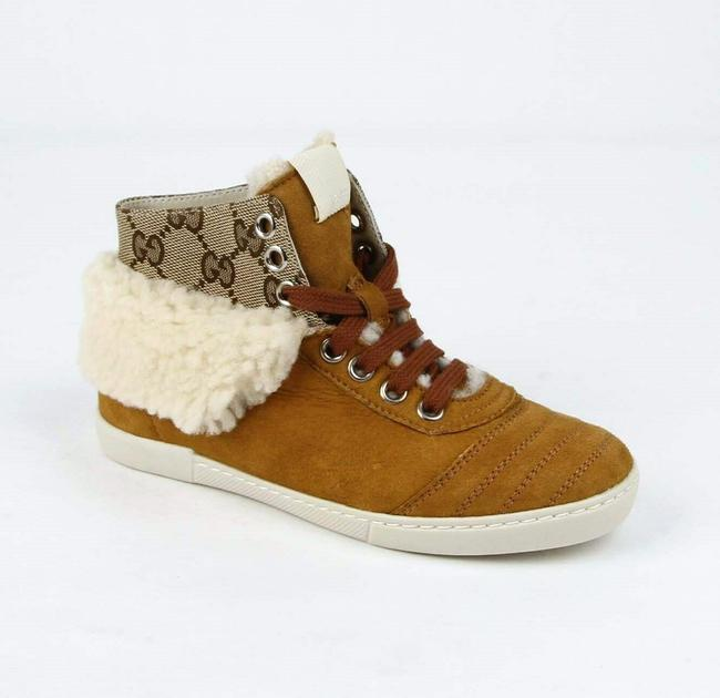Item - Brown W Suede Hi Top Sneaker W/Gg Canvas and Fur Trim 30/Us 12.5 285246 9064 Shoes