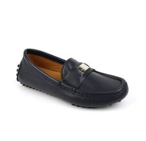 Gucci Dark Blue Leather Loafer with Silver Plaque 28 / Us 11 356008 4009 Shoes