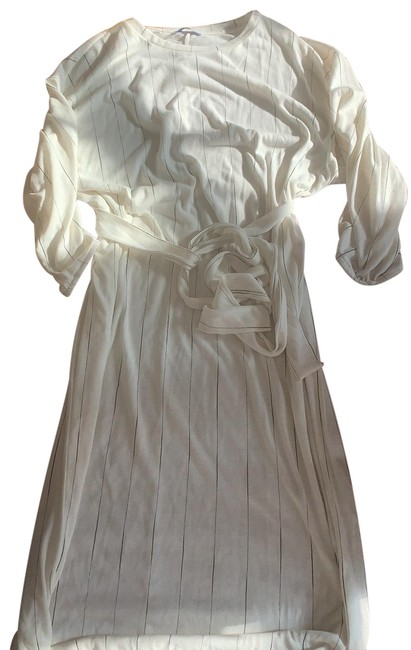 Item - White Striped Mid-length Work/Office Dress Size 12 (L)