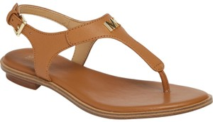 Michael Kors Mk Logo Thong Textured Leather Brown Sandals