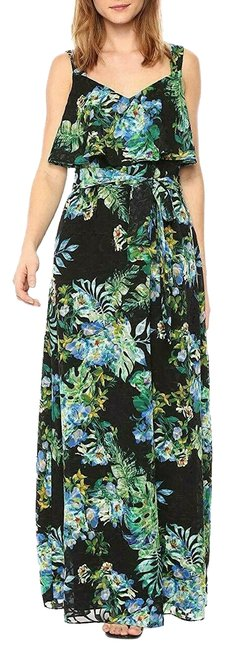 Item - Black Multi Tropical Burnout Printed Long Formal Dress Size 12 (L)