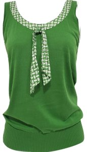 Banana Republic J Crew Knit Sleeveless Top Green and White