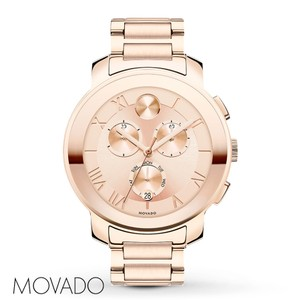 Movado Rose Gold Bold Stainless Roman Numeral Chronograph Womens 3600210