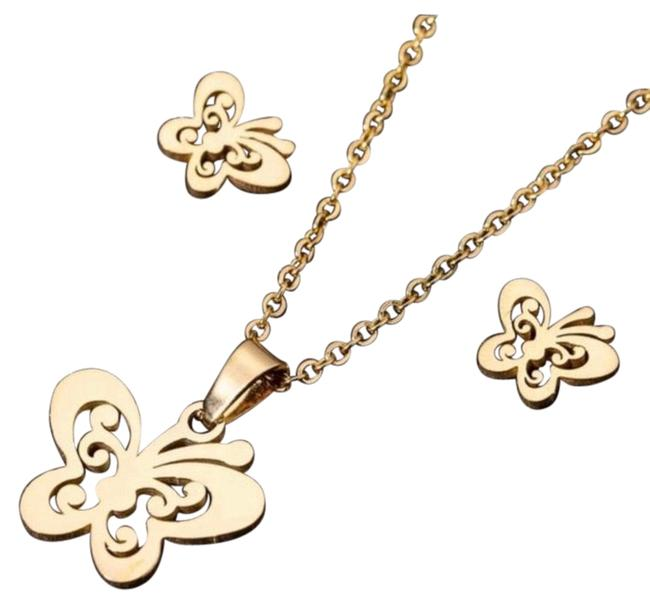 Item - Gold Stainless Steel Fashion Butterfly Set Necklace