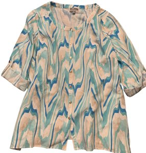 JM Collection Button Down Shirt Tie Dye Blue and White