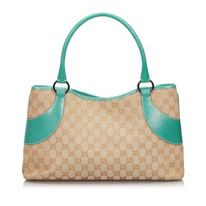Gucci 9hguto051 Vintage Canvas Leather Tote in Brown