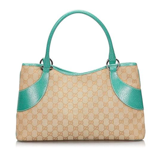 Gucci 9hguto051 Vintage Canvas Leather Tote in Brown Image 2