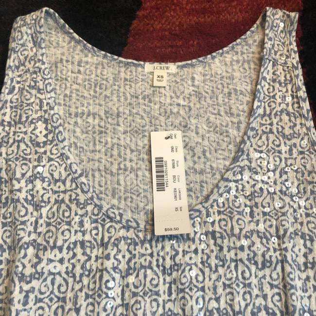 J.Crew Top Blue and White Tribal Image 1