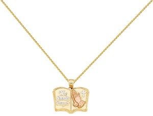 Top Gold & Diamond Jewelry 14k Yellow Gold Baptism Pendant with 1.5mm Flat Open Wheat Chain - 18