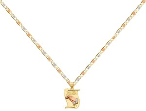 Top Gold & Diamond Jewelry 14k Tri Color Praying Hands Pendant with 1.5mm Valentono Chain - 18''