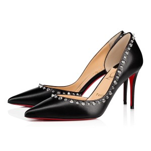 Christian Louboutin Heels Studded Spiked D'orsay Beige Silver Pumps