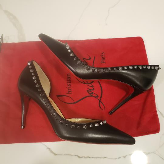 Christian Louboutin Heels Studded Spiked D'orsay Beige Silver Pumps Image 8