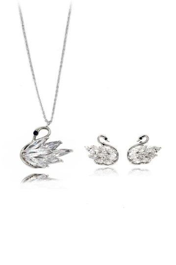 Preload https://img-static.tradesy.com/item/26039460/silver-shiny-crystal-swan-earrings-necklace-0-0-540-540.jpg