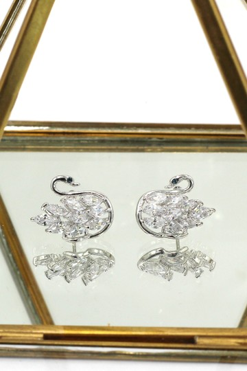 Ocean Fashion Shiny crystal swan earrings necklace set Image 3