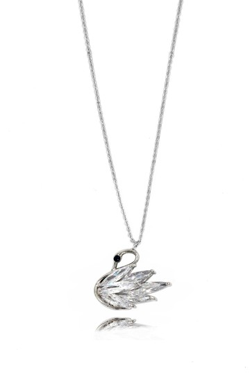 Ocean Fashion Shiny crystal swan earrings necklace set Image 5