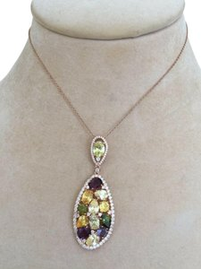 RJ ITALY Necklace Pendant by RJ Rose Gold Plated Sterling Silver Cubic