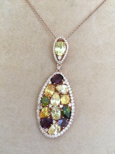 RJ ITALY Necklace Pendant by RJ Rose Gold Plated Sterling Silver Cubic Image 1