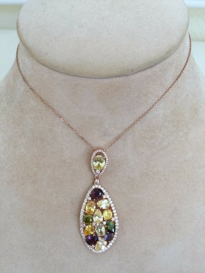 RJ ITALY Necklace Pendant by RJ Rose Gold Plated Sterling Silver Cubic Image 2