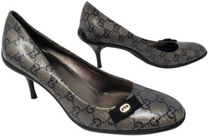 Gucci Guccissima Silver Hardware Metallic Glitter Gg Black Pumps