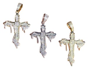 Harlembling Harlembling 925 Silver Dripping Cross Diamond Hip Hop Pendant