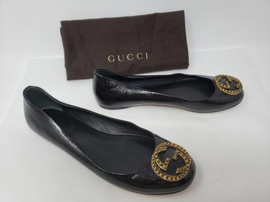 Gucci Studded Spike Gold Hardware Gg Guccissima Black Flats Image 1