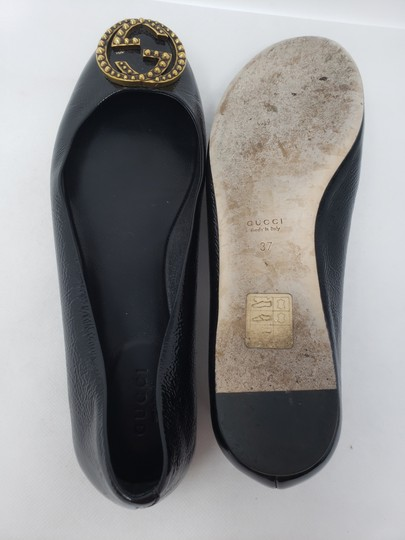 Gucci Studded Spike Gold Hardware Gg Guccissima Black Flats Image 10