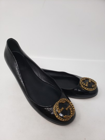 Gucci Studded Spike Gold Hardware Gg Guccissima Black Flats Image 2