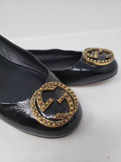 Gucci Studded Spike Gold Hardware Gg Guccissima Black Flats Image 3