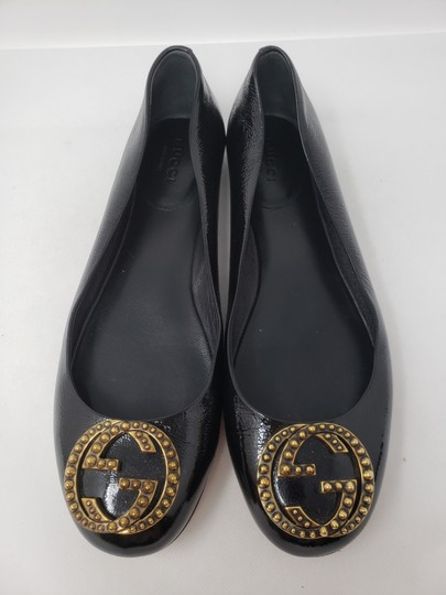Gucci Studded Spike Gold Hardware Gg Guccissima Black Flats Image 4