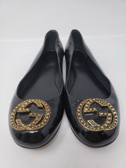 Gucci Studded Spike Gold Hardware Gg Guccissima Black Flats Image 5