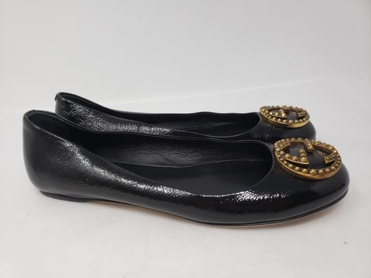Gucci Studded Spike Gold Hardware Gg Guccissima Black Flats Image 6