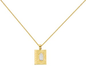 Top Gold & Diamond Jewelry 14k Two Tone Baptism Pendant with 1.5mm Flat Open Wheat Chain - 16