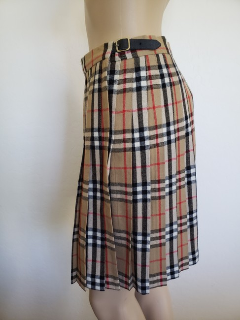 Burberry Belted Gold Hardware Nova Check Plaid House Check Skirt Beige Image 1