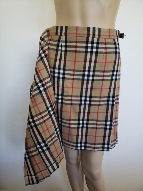 Burberry Belted Gold Hardware Nova Check Plaid House Check Skirt Beige Image 10